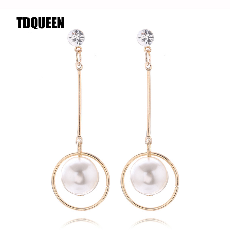 TDQUEEN Big Round White Pearl Beads Women Hanging Earrings Silver Plated and Gold Color Metal Geometric Statement Earrings 2018