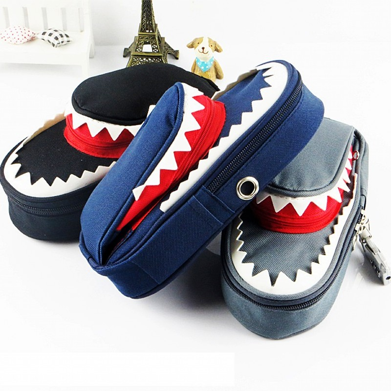 Image 3 - Super Large Capacity Creative Shark Canvas School Pencil Case Pencil Bag Pen Bag with Code Lock-in Pencil Cases from Office & School Supplies