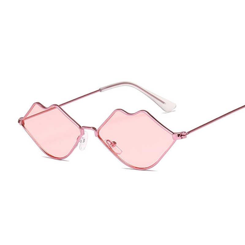 2020 Lucu Wanita Seksi Bibir Kacamata Hitam Wanita (Fashion Vintage Berjemur Kacamata untuk Perempuan UV400 Warna