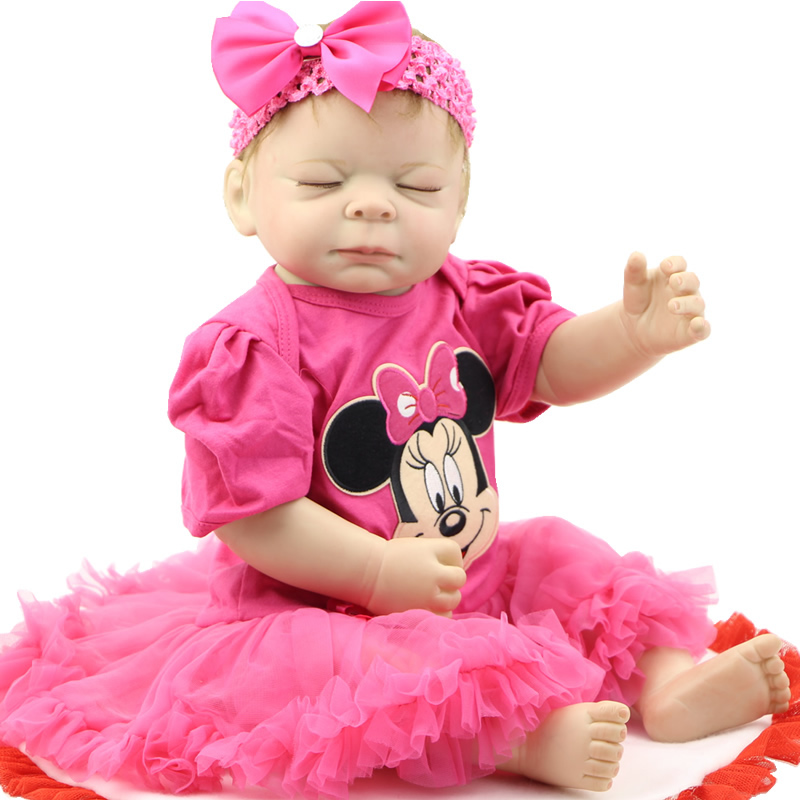 Realistic Princess Girl Baby Doll Reborn Full Silicone Vinyl 20 Inch 50 CM Sleeping Babies With Mohair Kids Birthday Xmas Gift sleeping baby doll reborn realistic 20 inch full silicone vinyl lifelike newborn babies girl with dress kids birthday xmas gift