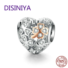 DISINIYA  Lucky Clover Heart Shape Charm for Women Luxury Brand Bracelet 3mm Rose Gold Color 925 Sterling Silver Jewelry SCC1248 zoziri 100% 925 sterling silver 3 clover leaf bracelet luxury brand imitation jewelry for women girls zircon flower bracelet