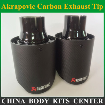 2 pcs akrapovic 배기 자동차 탄소 배기 팁 자동차 스타일링 배기 파이프 머플러 팁 탄소 섬유 배기 팁 자동차 머플러