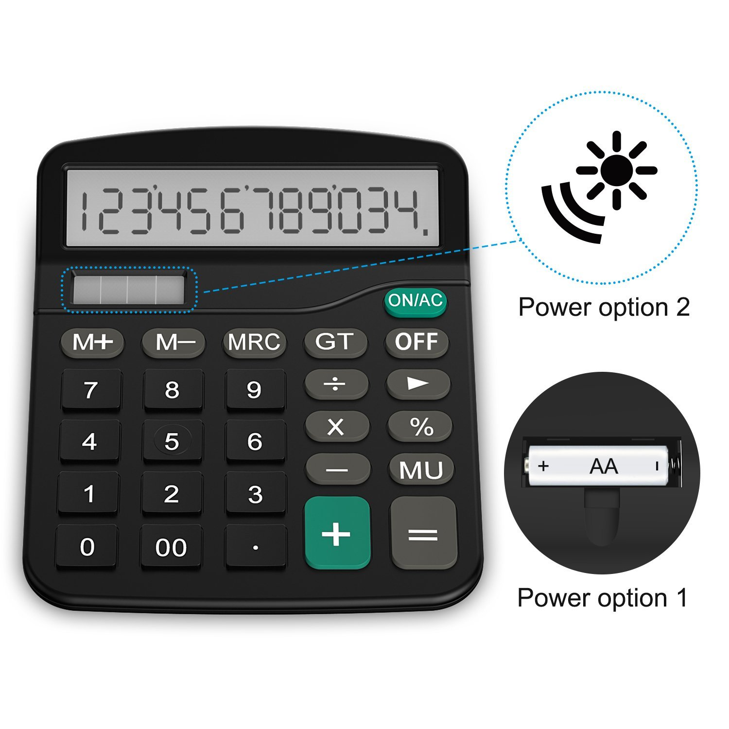 FXSUM Desktop Solar Calculator 12 Digits Electronic Calculator Dual Power Portable Office School Stationery with Big