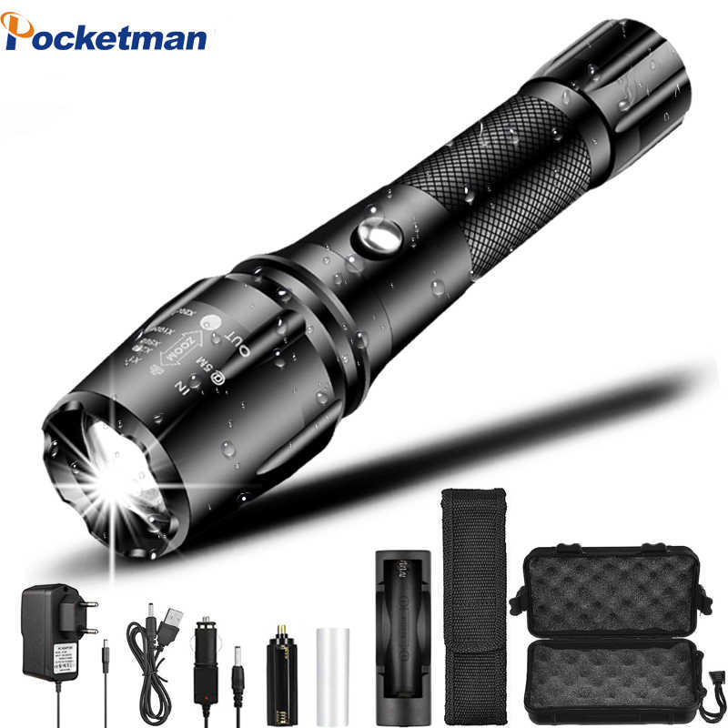 18000 LM Super Bright Flashlight LED Torch Zoomtable Tactical Flashlights linterna Bicycle Light Rechargeable 18650 battery