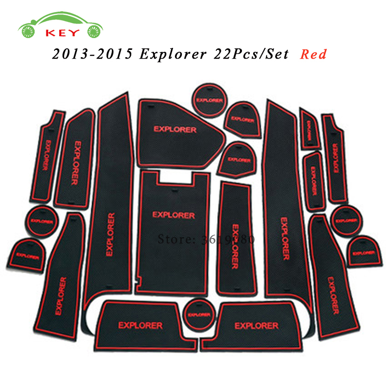Car Styling Door Pad Interior Accessories Gate Slot Mat Anti-Slip Cup Holder Mat Cushion for Ford Explorer 2013-2015 22Pcs/Set
