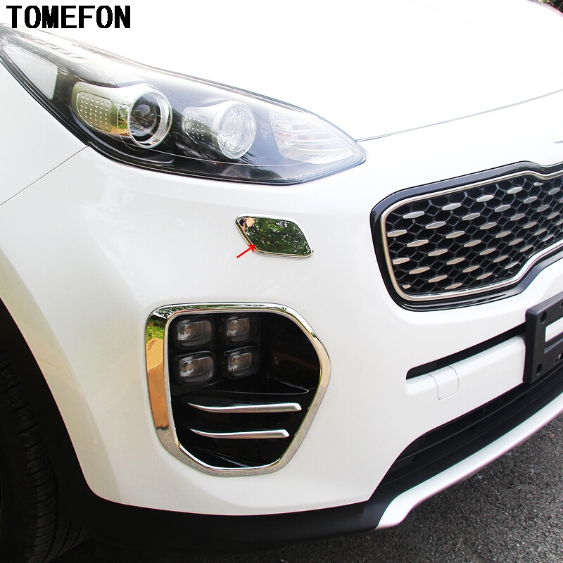 TOMEFON Chrome Front Headlights Cleaning Cap Cover Molding Trim Stickers Car Styling Accessories Fit For KIA Sportage 2016 2017