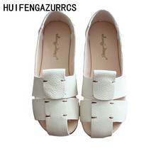 HUIFENGAZURRCS-Genuine leather sandals,literary artistic retro flat soles leisure shoes,Fairies ports fashionable women shoes