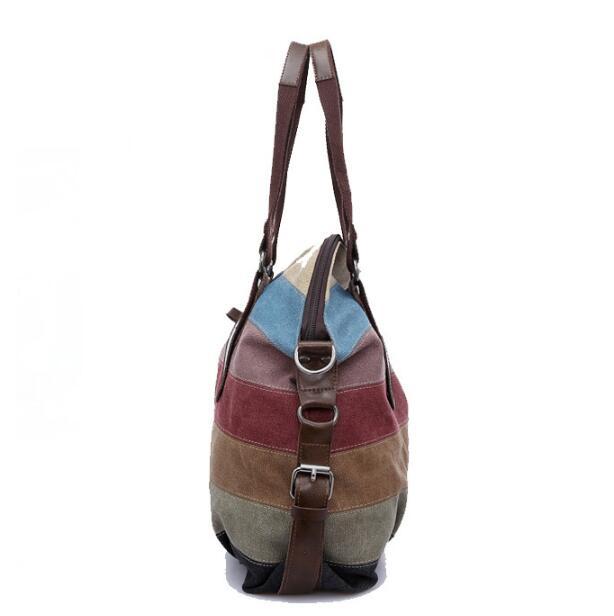 2019 Hot Sell Big Capacity Striped Canvas Tote Handbags Women Canvas Beach Bags Striped Canvas Women Handbags