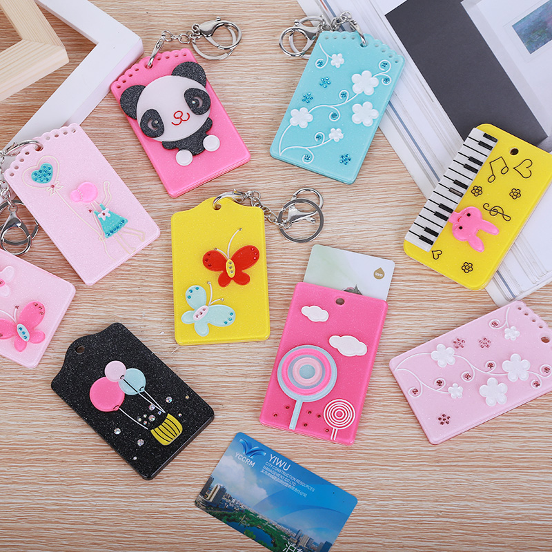 1Pcs Simple Business Card Holder Fashion Student Badge Bus Card Set Cute Leaves Animal Bell Key Chain ID Name Badge Cards Cover