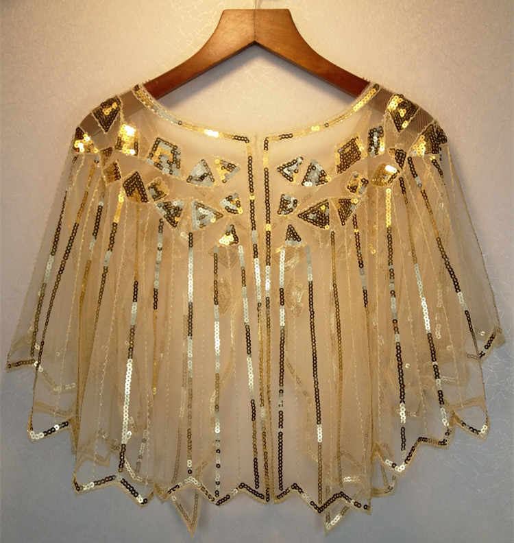 JaneVini Gold Sequined Wedding Cape Formal Dress Bolero Short Shrug Wraps Stoles Shiny White Women Shawl Jacket Piumino Donna