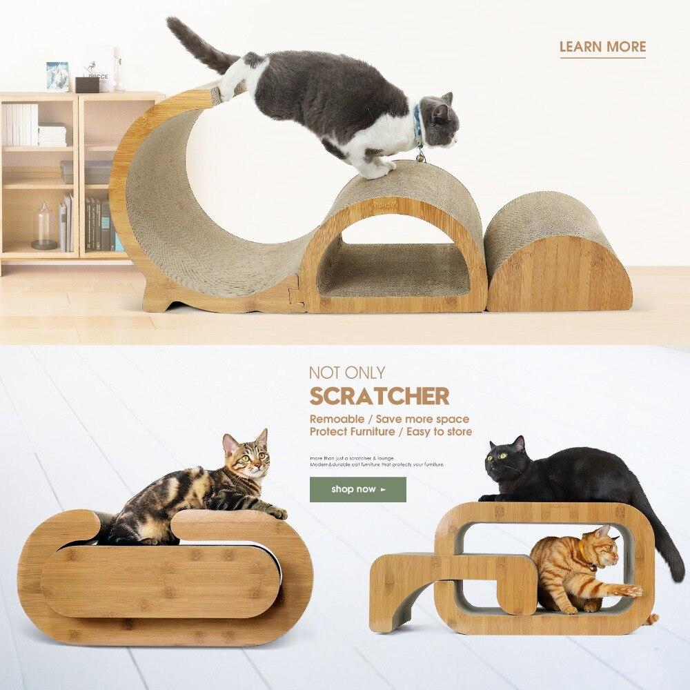 Chat de luxe grattant le conseil avec l'échelle IQ interactif en bois massif chat escalade arbre pour chats salon Durable drôle exercice jouets