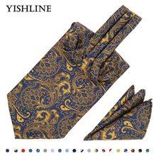 hot deal buy 16 color men's cravat tie set handkerchief 100% silk paisley jacquard ascot tie sets pocket square  for business wedding party