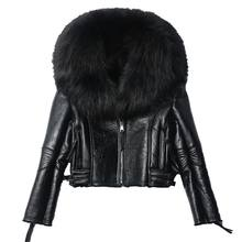 Women Sheepskin Genuine Leather Lady Real Raccoon Fur Collar Coat New Fashion Female Outwear Short Casual Zipper Plus Size Coat(China)