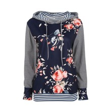 2017 Autumn Women Floral Print Striped Long Sleeve Shirt Loose Girl Tops Hoodie Female Sexy Sweatshirt Polyester Hoodie Pullover