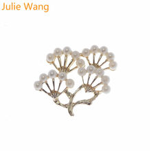 Julie Wang 3PCS Alloy Gold Pearl Branch Charms For Neckalce Pendant Earrings Findings DIY Jewelry Making Accessory(China)