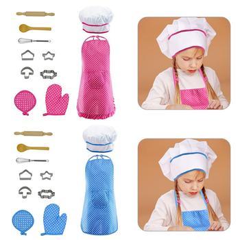 11 Pcs/set Dapur Mainan Anak Peralatan Masak Perlengkapan Dapur Set Chef Set Memasak Bermain Set dengan Apron Chef topi