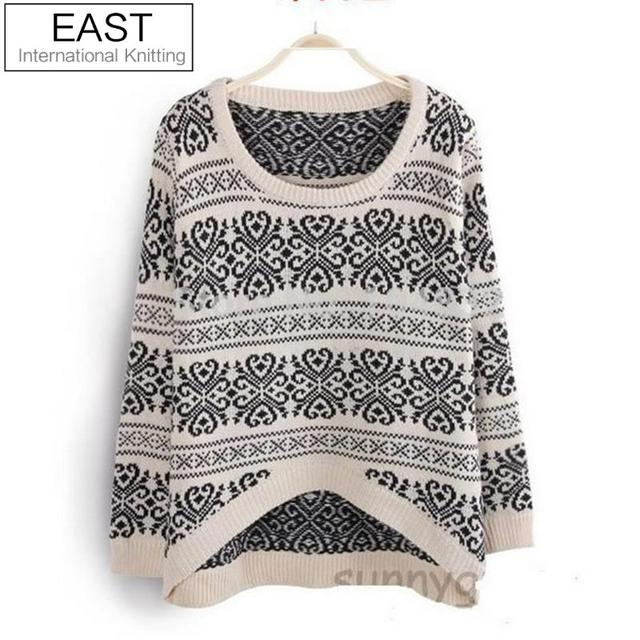 East Knitting SW-014 long sleeve sweaters for women 2017 Vintage totem loose pullovers short knitwears top sale