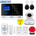 Inalámbrico SIM GSM hogar RFID seguridad antirrobo LCD teclado táctil sistema de alarma WiFi/GSM Sensor kit inglés, ruso, español voz