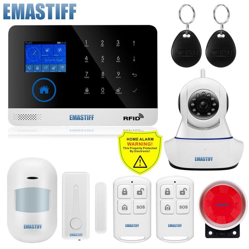 Nirkabel SIM Gsm Rumah RFID Keamanan Pencuri LCD Touch Keyboard Wifi Gsm Alarm Sistem Sensor Kit Inggris, Rusia bahasa Spanyol Suara