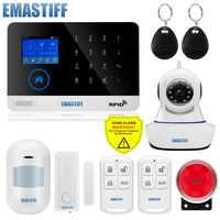 Sans fil SIM GSM maison RFID cambrioleur sécurité LCD tactile clavier WIFI GSM système d'alarme capteur kit anglais, russe, espagnol voix