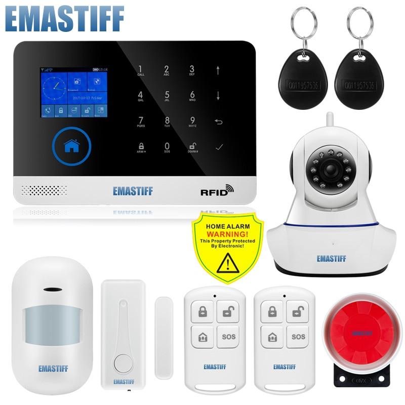 Senza Fili SIM RFID Antifurto Di Sicurezza Domestica Di GSM LCD Touch Tastiera WIFI GSM Sistema Di Allarme Kit Sensore Di Inglese, Russo, Spagnolo Voice