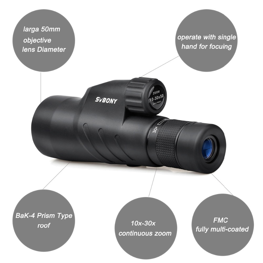 SVBONY 10 30x50 Zoom Monocular SV45 Binoculars BAK4 Prism Waterproof High Power Telescope Outdoor Optics for Hunting F9338A in Monocular Binoculars from Sports Entertainment