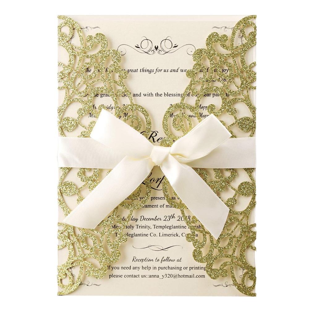 الذهب بريق الليزر قطع دعوات زفاف بطاقات مع القوس الجوف فلورا 50 قطعة الزفاف دش الزفاف عيد ميلاد التخرج بطاقات-في بطاقات ودعوات من المنزل والحديقة على  مجموعة 1