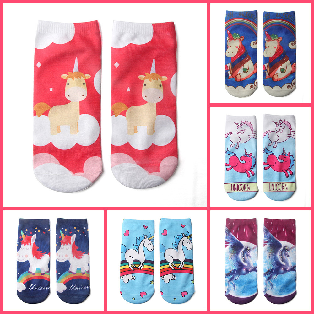 Funny Socks Women 2018 New Arrive High Quality 18 Style 19cm 1pair 3D Cute Unicorn Printed Low Ankle Soft White Femme Socks 3d print unicorn socks girls kawaii ankle licorne chaussette femme calcetines mujer cute emoji art happy kids long cotton socks