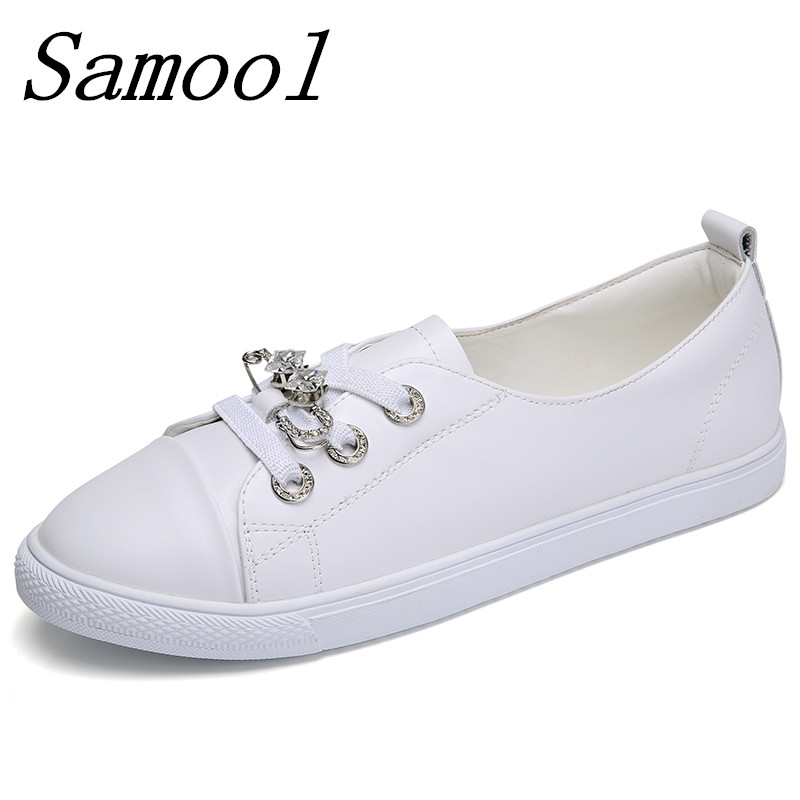 Nurse shoes Women Flat Shoes Casual Loafers 2018 Spring Round Toe Breathable Fashion Students White Flat Embosses Shoes jx2 tfsland men women genuine leather loafers students white shoes unisex spring round toe lace up breathable walking shoes sneakers