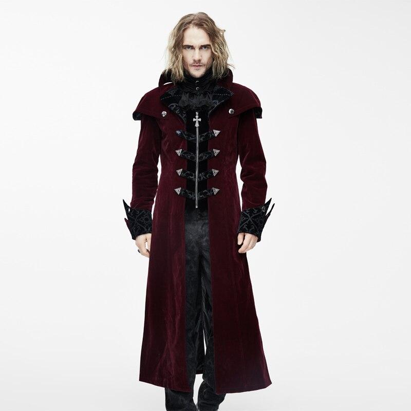 Для мужчин панк готический кардиган на молнии партия Готический некромант длинные бессмертный колена пальто
