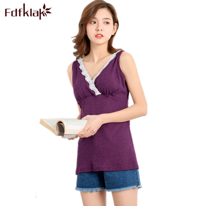 Fdfklak Summer V-Neck Nursing Tank For Pregnant Maternity Clothes Women Breast Feeding Camisole Nursing Shirts BreastfeedingF128