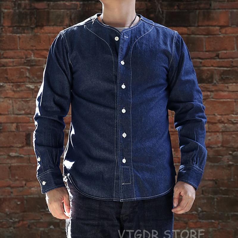 Non Stock Vintage Baseball Collar Shirts Fall Men's Long Sleeves Denim Blue Workshirts