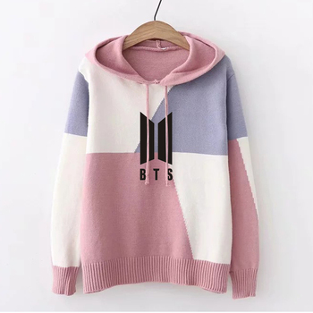 Harajuku Fashion Patchwork Pullovers BTS EXO Kpop Clothes Women Long Sleeve Hoodie Sweatshirts Color Block Jumper Hood Hooded bts clothes