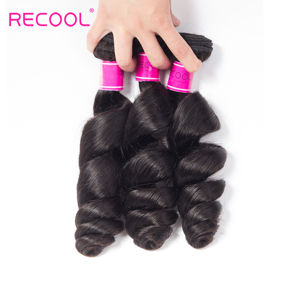 Recool Peruvian Virgin Hair Loose Wave 3 Bundles Nautral Color 10 28 Inch 100 Human Hair