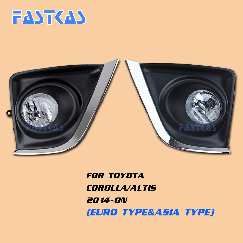 12v Car Fog Light Assembly for Toyota Corolla/Altis 2014-2016 Front Left and Right set Fog Light Lamp with Harness Relay 2pcs auto right left fog light lamp car styling h11 halogen light 12v 55w bulb assembly for ford fusion estate ju  2002 2008