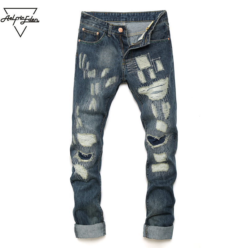 Aelfric Eden Men Biker Jeans Ripped Denim Motorcycle Pant Classic Rap Hip Hop Skinny Casual Winter Stretch Jeans Men Blue Yg080 цена 2017
