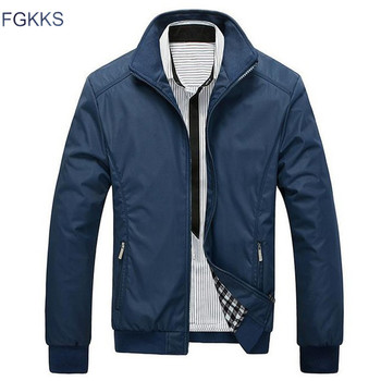 FGKKS New Spring Jacket Men Fashion Casual Loose Mens Jacket Sportswear Bomber Jacket Mens jackets and Coats Male
