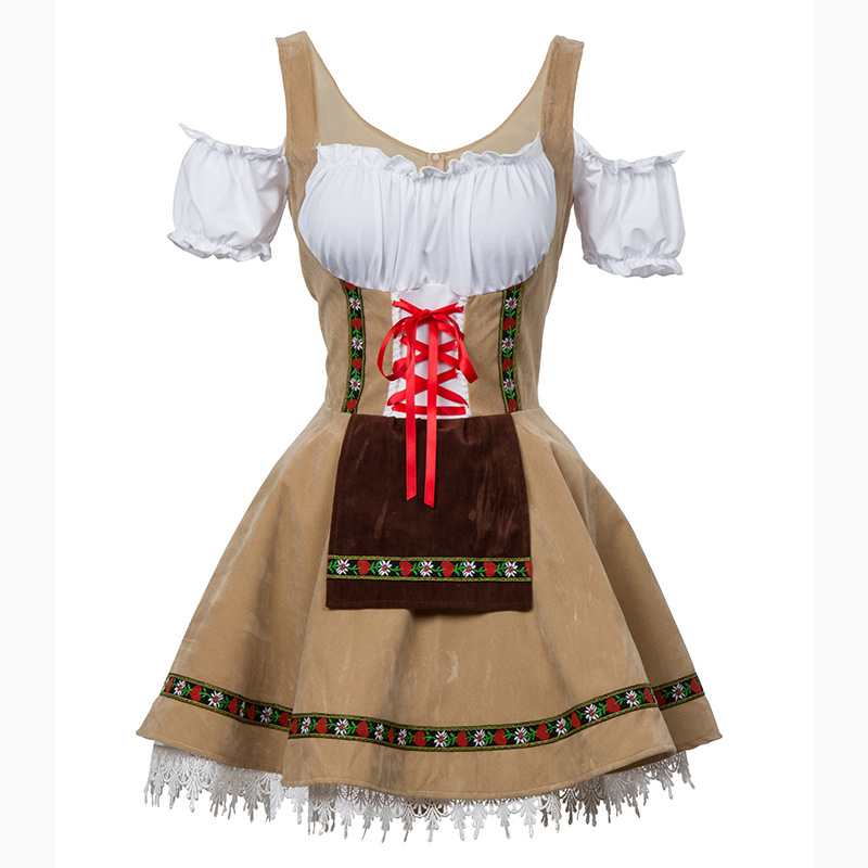 Fancy Dress Maid Wench Bavarian Girl Costume Oktoberfest Germany Dirndl Women Plus-Size