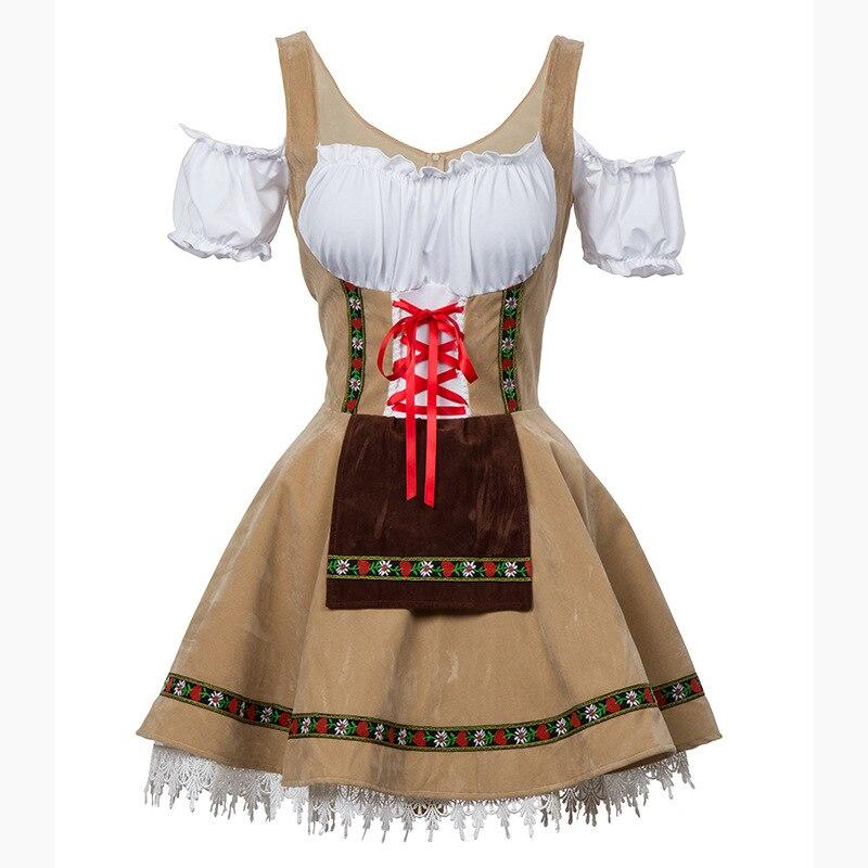 Plus Size 6XL Modo Oktoberfest Beer Girl Costume Cameriera Wench Germania Bavarese Manica Corta Vestito Operato Dirndl Per Le Donne Adulte