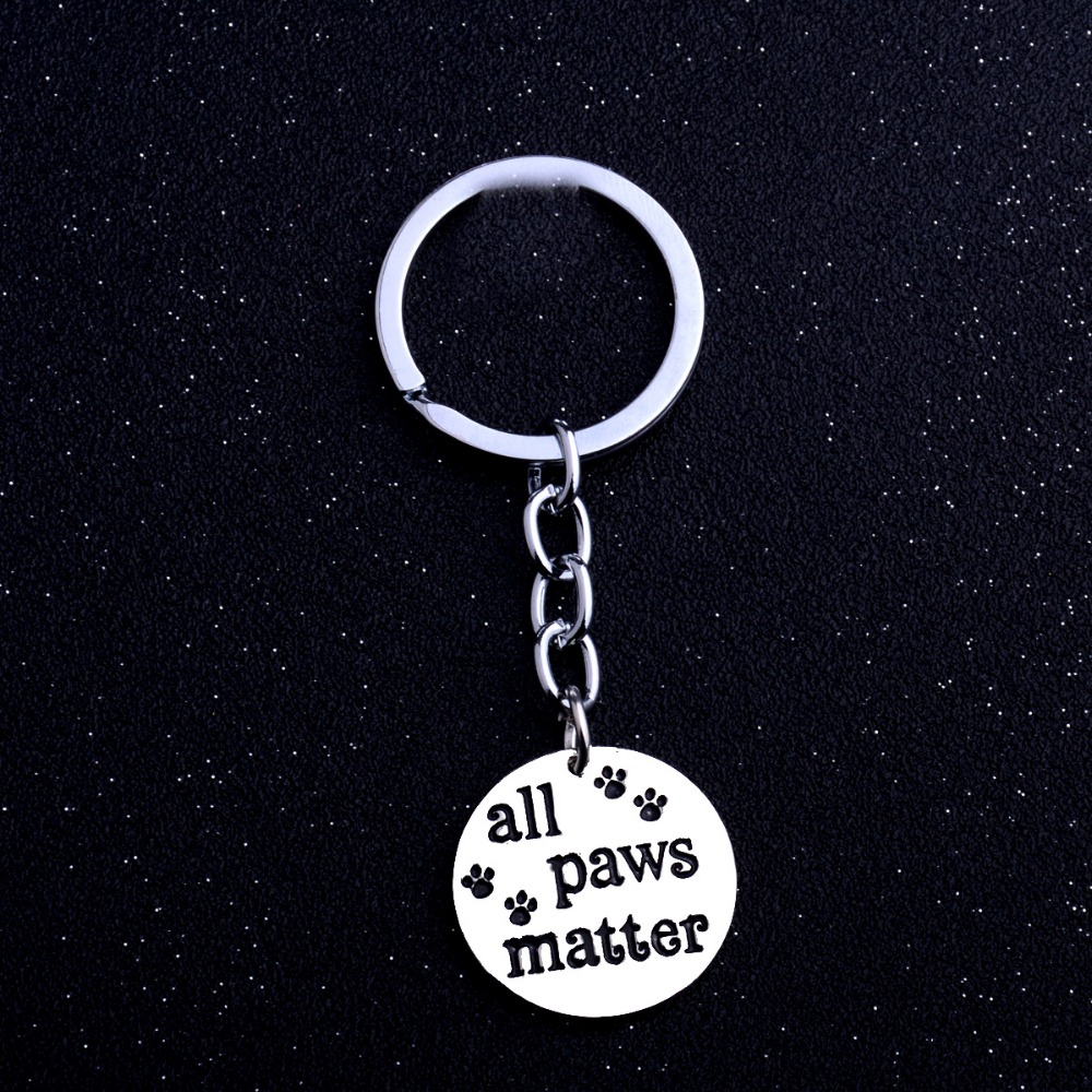 Fashion Pet Animals Rescued All Paws Matter Keyring Paws Print Dog Cat Charm Keychain Key Chain Jewelry Car Bags Keyfob Gift New