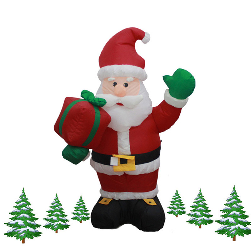 120cm Giant Santa Claus with Gift Boxes LED Luminous Inflatable Toys Christmas Birthday Wedding Party Props Yard Decoration