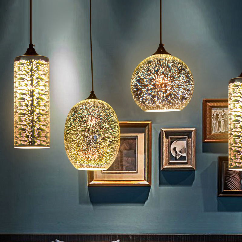 Fashion creative 3d stained glass chandelier with personalized art fashion creative 3d stained glass chandelier with personalized art deco restaurant and bar table fireworks exhibition in pendant lights from lights aloadofball Image collections