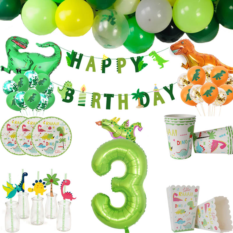 Dinosaur Party Disposable Tableware Kids Dino Birthday Party Decoration Animal Jungle Party Backdrop Roar Dino Tableware Supply