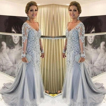 Elegant Mother Of The Bride Dresses V Neck Sheer Long Sleeves Mermaid Evening Dress Lace Appliques Beads Sweep Train Plus Size