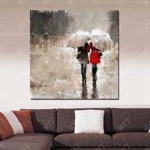 Girls under the Umbrella Raining Landscape  Oil Painting Home Decoration Living Room Decorative Fine Art Picture No Framed