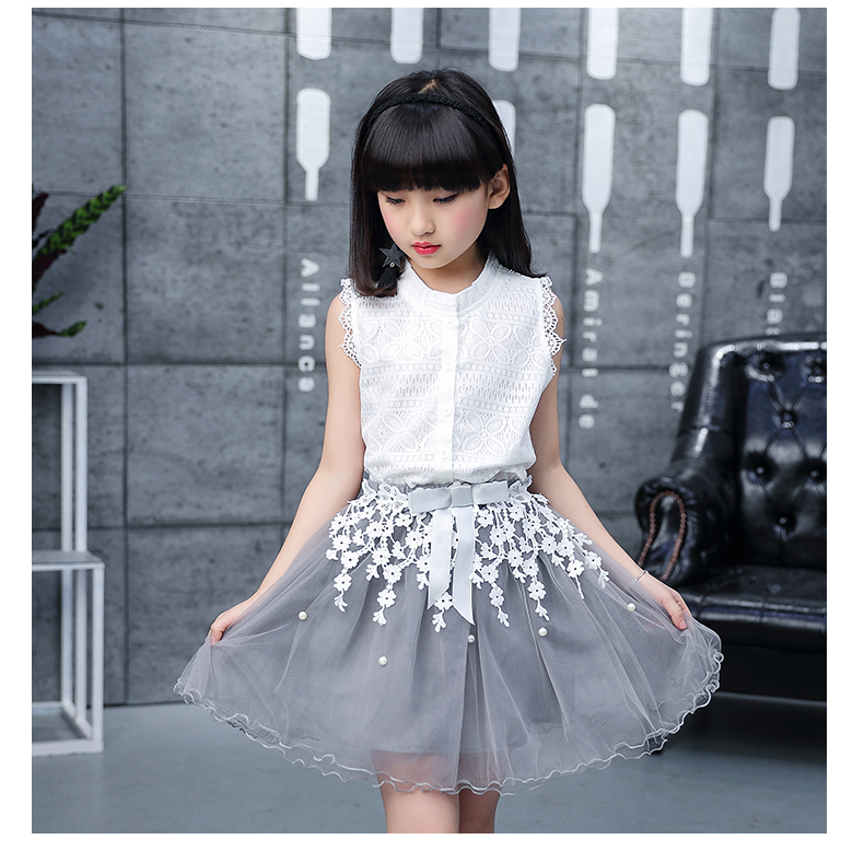 Toddler girl Summer dresses Sleeveless 2-pieces-sets Lace vest + bud silk gauze stitching skirt AliExpress Hot Sale 120 130 140 (19)