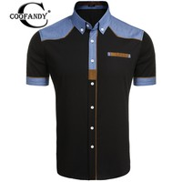 COOFANDY 2017 Summer Hot Fashion Men S Short Sleeve Patchwork Contrast Color Casual Button Down
