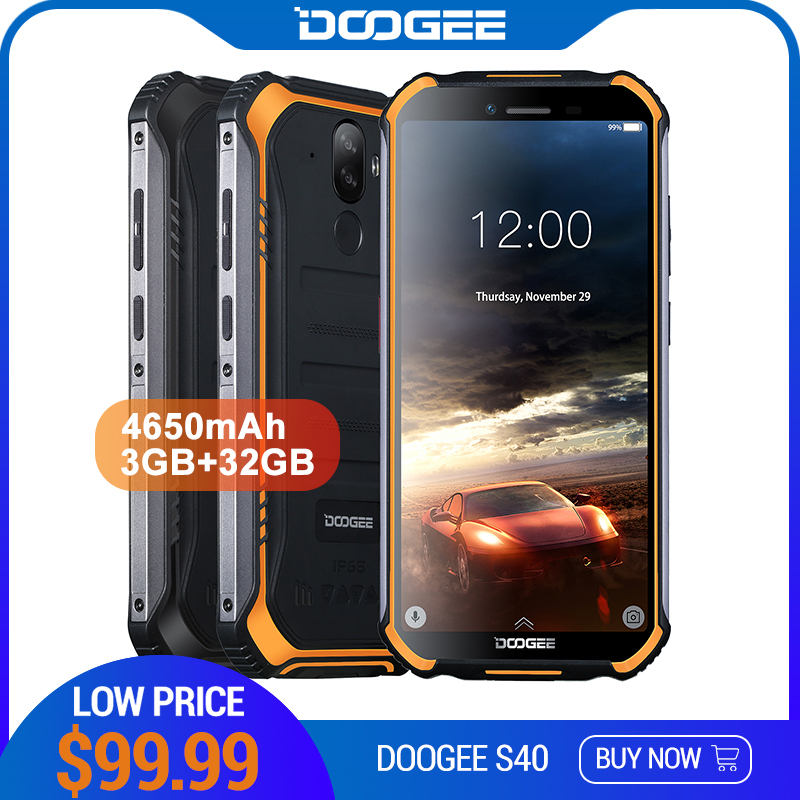 DOOGEE S40 4GNetwork Rugged Mobile Phone 5.5inch Display 4650mAh MT6739 Quad Core 3GB RAM 32GB ROM Android 9.0 8.0MP IP68/IP69K shark tank dog selfie