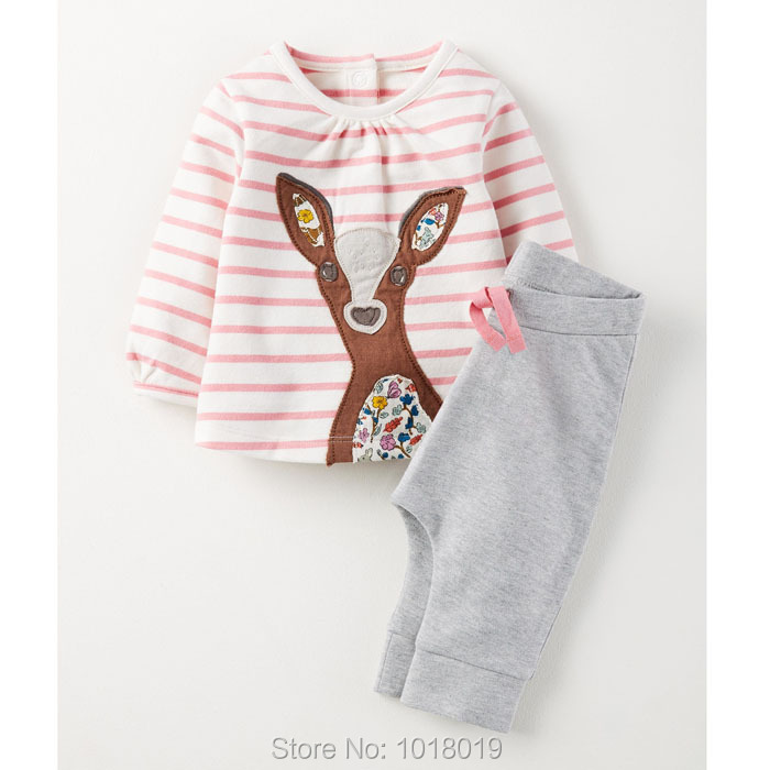 New 2017 Brand Quality 100% Cotton Baby Girls Children Suits 2pcs Kids Toddler Clothing Long Sleeve Clothes Sets Girls Baby Sets цены онлайн