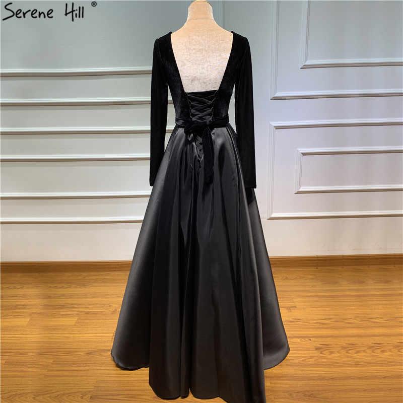 Черные бархатные сексуальные вечерние платья с глубоким v-образным вырезом, простые бордовые вечерние платья с длинными рукавами 2019 Serene hilm BLA60706
